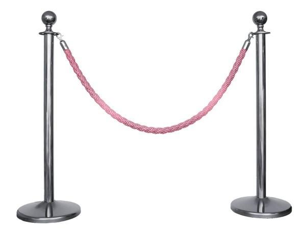 Kordelständer-Set Silber/Pink (2 Ständer & 1 Kordel)
