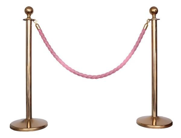Kordelständer-Set Gold/Pink (2 Ständer & 1 Kordel)