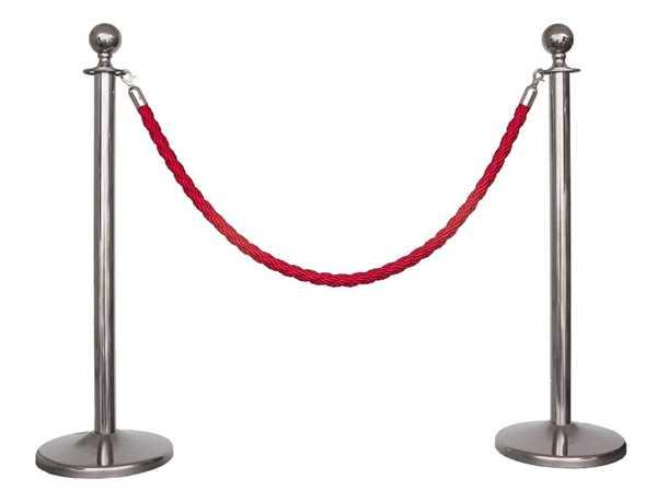 Kordelständer-Set silber/rot (2 Ständer & 1 Kordel)