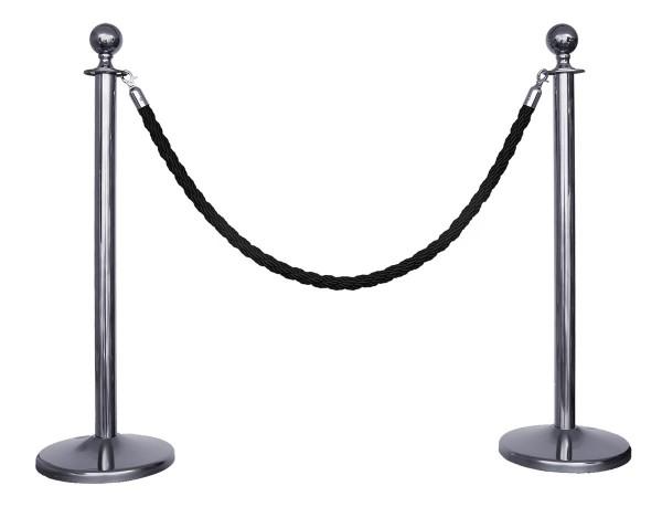 Kordelständer-Set silber/schwarz (2 Ständer & 1 Kordel)