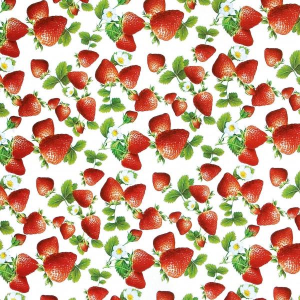 """Wachstischdecke, Motiv """"Erdbeeren"""""""