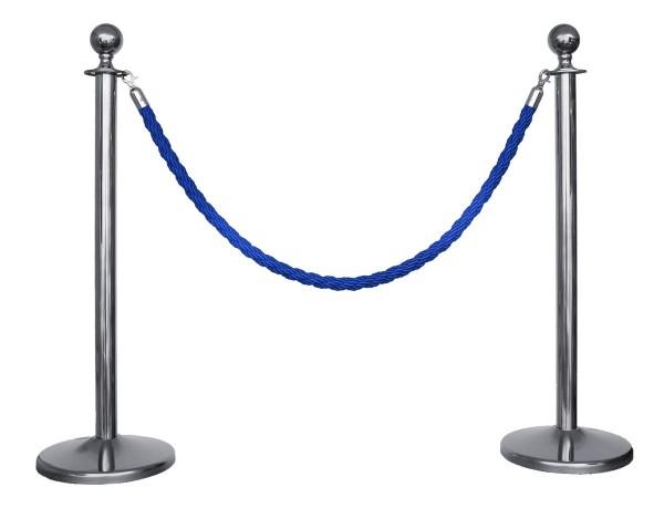 Kordelständer-Set Silber/Blau (2 Ständer & 1 Kordel)