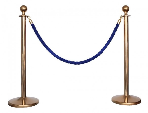 Kordelständer-Set Gold/Blau (2 Ständer & 1 Kordel)