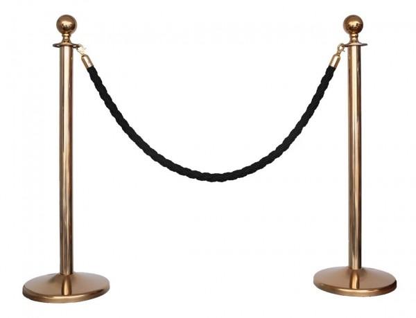Kordelständer-Set gold/schwarz (2 Ständer & 1 Kordel)